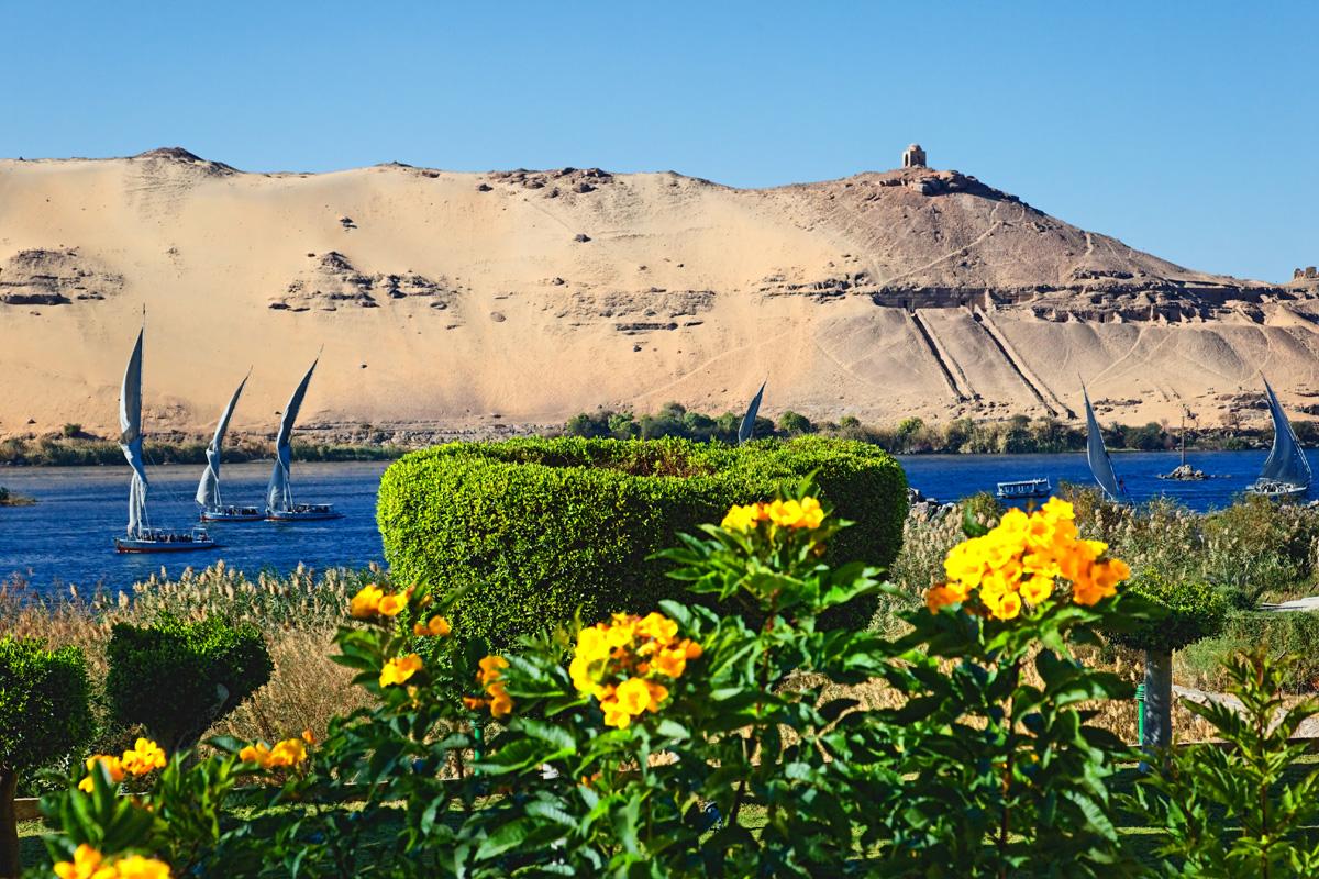Aswan - West view from Elephantine island.