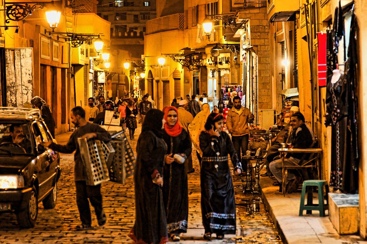 Bustling street scene